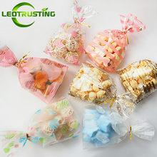 Nieuwe Jaar 50 Stks/pak Met Draad Banden Diy Plastic Geschenken Zakjes Verjaardag Wedding Party Bakkerij Cookies Snacks Biscuit Candy Pack tas