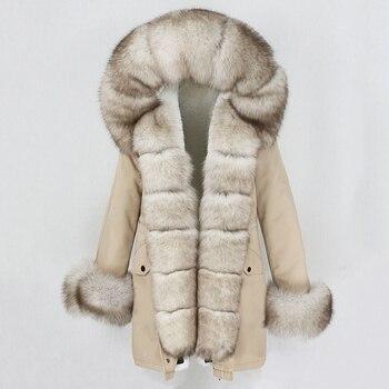 OFTBUY – Veste en fourrure naturelle pour femme, manteau en vrai manchon, col long et ample, peau de renard, grand vêtement de sortie détachable, à la mode 2020 1