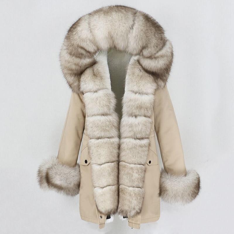 Женская зимняя куртка OFTBUY, длинная свободная куртка с воротником из натурального Лисьего меха, верхняя одежда со съемным мехом, зима 2020