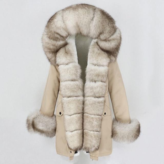 OFTBUY 2020 Fashion Winter Jacket Women Real Fur Coat Natural Real Fox Fur Collar Loose Long Parkas Big Fur Outerwear Detachable