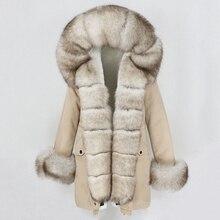 OFTBUY Chaqueta de invierno de piel auténtica para mujer, Parkas largas holgadas con cuello de piel de zorro Real Natural, ropa de abrigo de piel grande desmontable, 2020