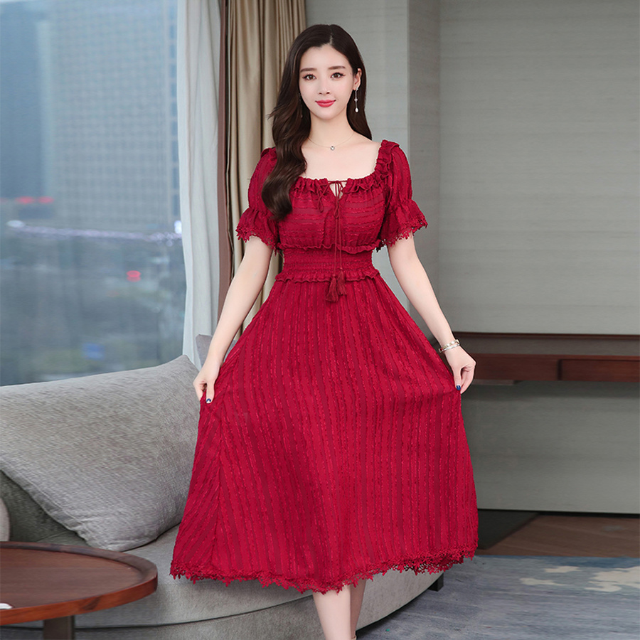 Vintage Solid Chiffon Midi Dresses Summer Plus Size Red Sexy Women Party Dresses Boho Maxi Beach Sundress Elegant dress