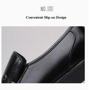 Image 4 - Merkmak מותג גברים עור רשמיות עסקי נעלי זכר משרד עבודה שטוח נעלי אוקספורד לנשימה מסיבת חתונה נעלי יום השנה