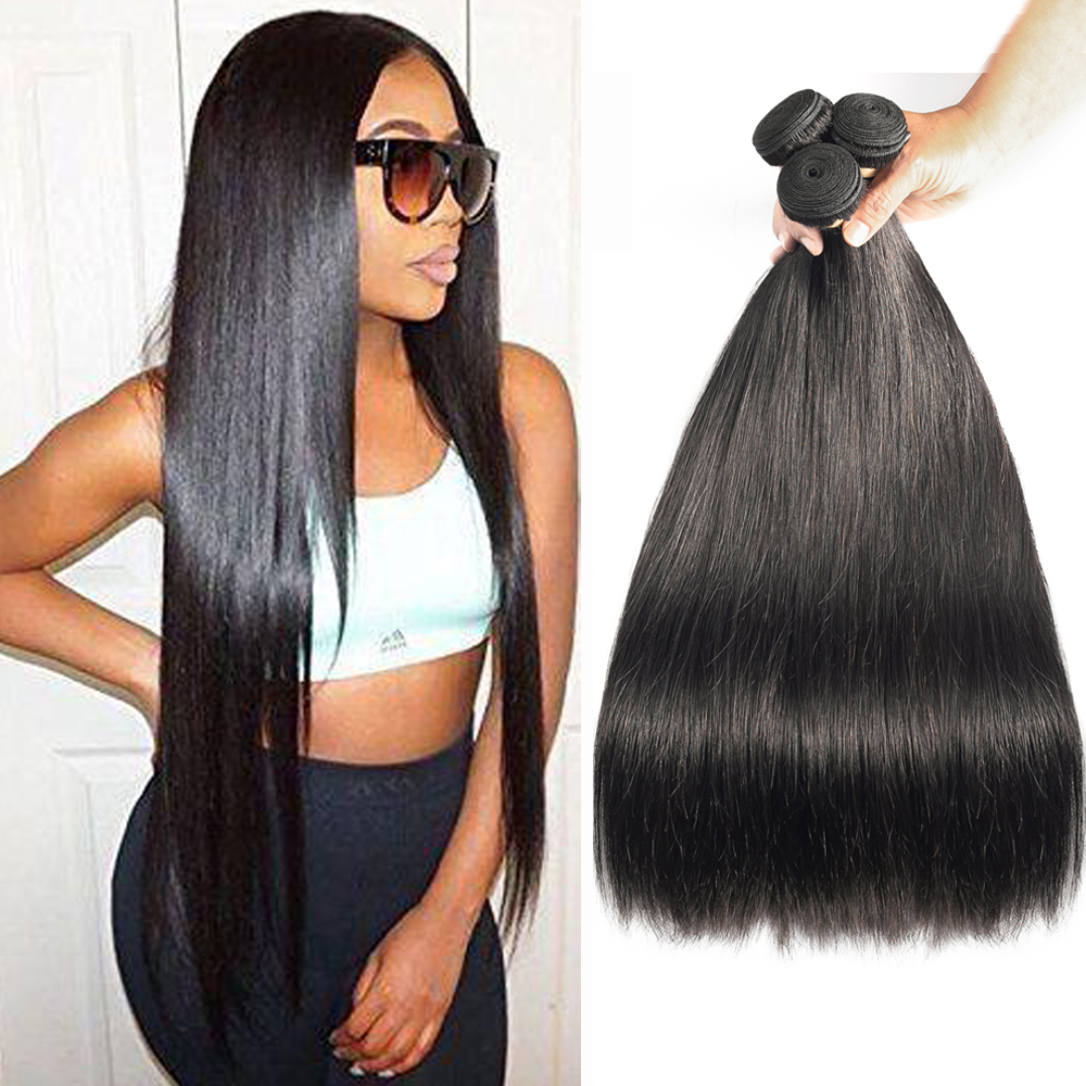"Sapphire Brazilian Human Hair Weave Bundles Brazilian Straight Hair Natural Color Human Hair Bundles Deal 8""-24"" Free Shipping"
