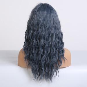 Image 3 - アランイートンミディアム波状合成ダークブルー黒人女性耐熱ナチュラルコスプレヘアウィッグサイド前髪