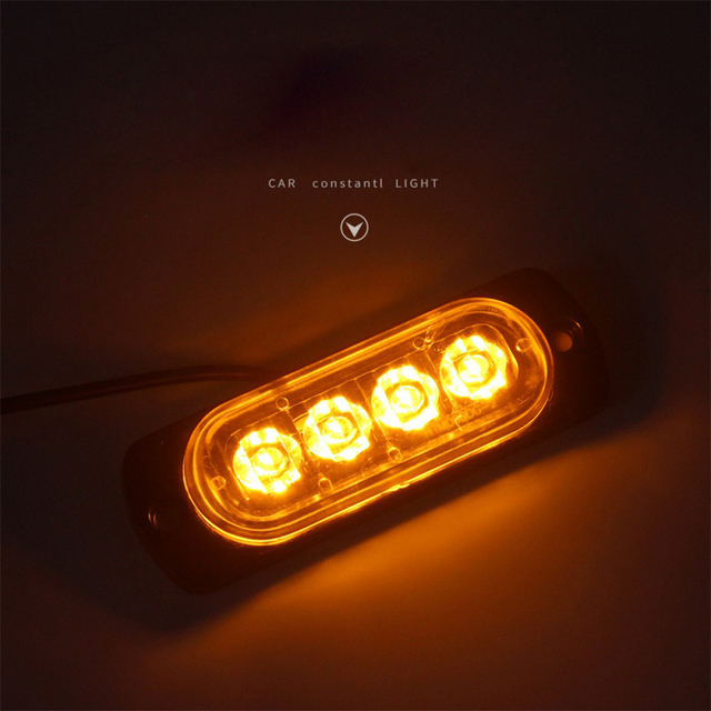 Nowe 4 markery boczne Led lampka ostrzegawcza kratka migająca Lightbar ciężarówka lampa ostrzegawcza samochodu bursztynowy żółty biały sygnalizacja świetlna 12V - 24V