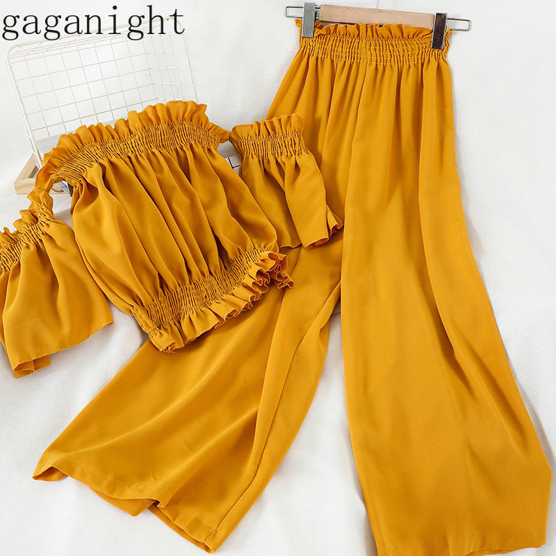 Gaganight Korean Summer Holiday Beach Style 2 Pcs Women Suit Slash Neck Pullover Blouse + High Waist Hip Wide Leg Pants Suit