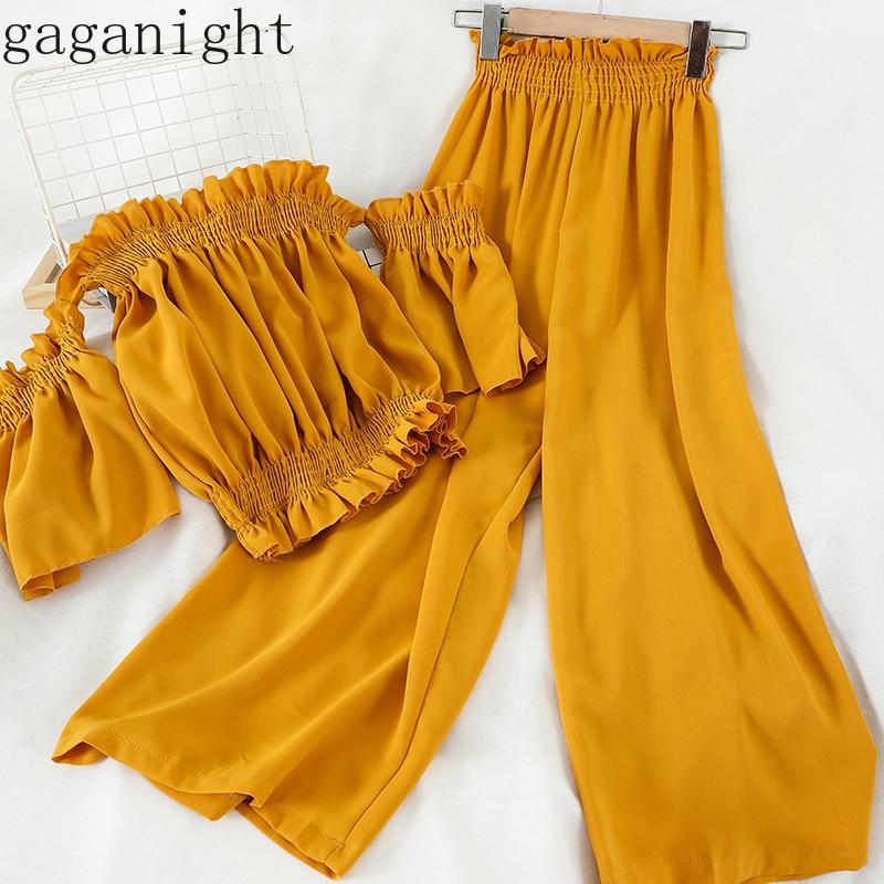 Gaganight Korean Summer Holiday Beach Style 2 Pcs Women Suit Slash Neck Pullover Blouse + High Waist Hip Wide Leg Pants Suit