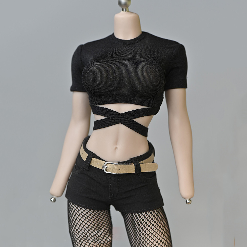 1/6 Scale Female Tshirt Sexy Bandage Short T-shirt Vintage Solid Color T Shirt for 12