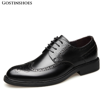 Buty Meskie Men Business Dress Shoes Pointed Shoes Brogue Carved Shoes Men Buty Meskie фото