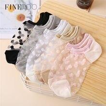 FINETOO – chaussettes courtes en résille et dentelle pour femmes, 3 pièces, Sexy, en maille, en Fiber transparente, extensible, élastique, fine, à la cheville