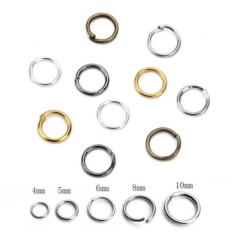 200pcs 4 5 6 8 10mm Open Jump Rings Bulk Metal Iron Split Rings Gold Bronze Color End Connectors Clasps for Diy Jewelry Supplies