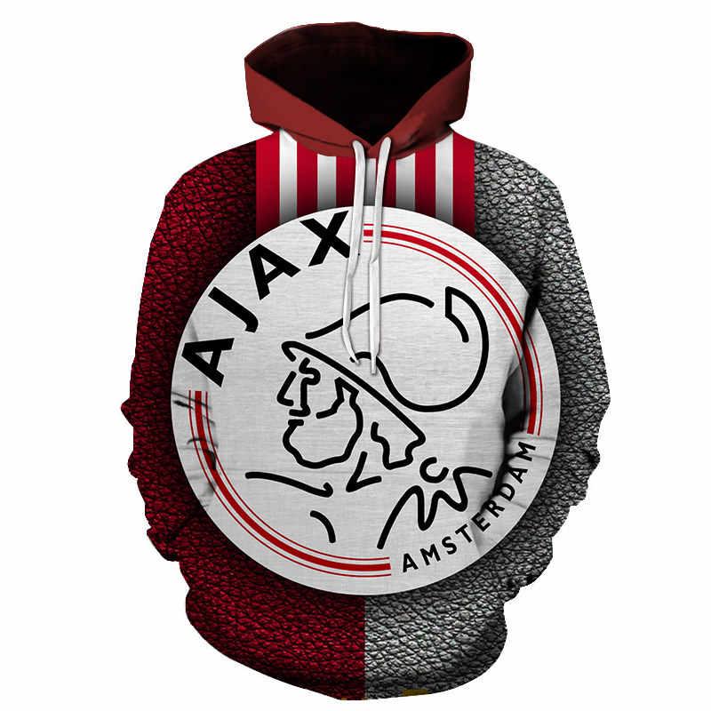 2019 Ajax Khoác HOODIE THU ĐÔNG Nam Áo Thun Cổ Áo Khoác Nam Thời Trang Bóng Đá Ajax In 3D Áo Nỉ Unisex Hip Hop Mũ Trùm Đầu S-6XL