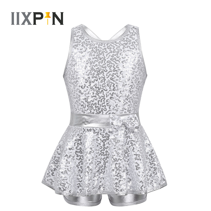 Girls Jazz Dance Dress Ballet Dance Leotard Dress Modern Tap Dance Sleeveless Sequined Criss Cross Back Waist Bowknot Dress Kids
