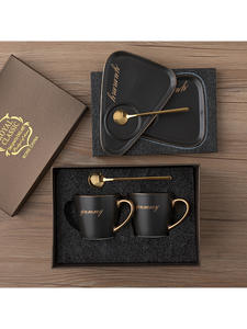 Saucer-Sets Coffee-Mug Water-Bottle Ceramic Travel Tazas Creative Personalized Luxury