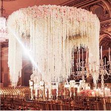 Barato 100cm longo artificial wisteria flor videira de seda hortênsia videira diy festa de aniversário casamento decoração parede fundo flowe