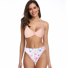 New Sexy Pink Bikini Women Swimsuit Floral Print Bathing Suit S-L Girl Backless Halter Swimwear Micro Bikini Set sexy halter neck ethnic print striped women s bikini set