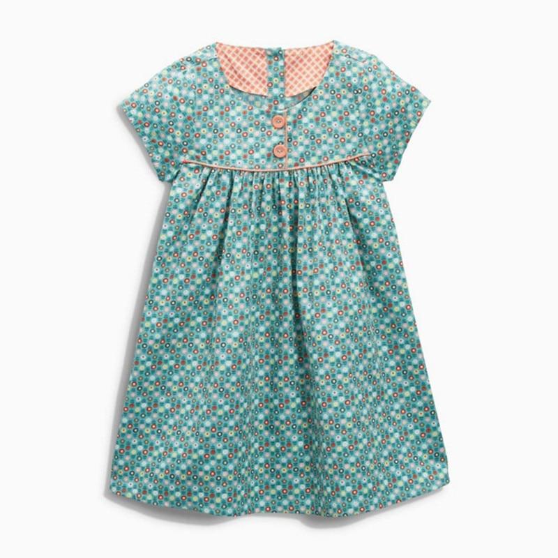 Little Maven 2020 New Summer Baby Girls Clothes Brand Dress Kids Cotton Flower Print Short Sleeve Dresses S0716