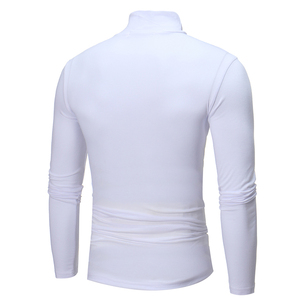 2020 Fashion Men Turtle Neck Top Solid Color Long Sleeve Turtle Neck Bottoming Top Clothing gift for man