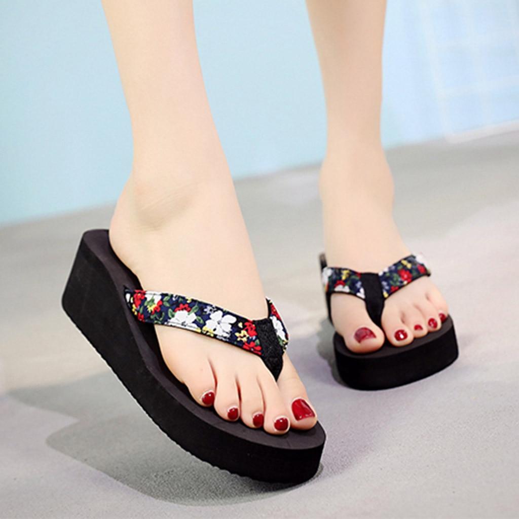 Женская обувь vhome, модные летние шлепанцы в богемном стиле с цветами, пляжные сандалии, зимняя обувь # CN20