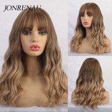 JONRENAU Synthetische Ombre Braun bis Goldene Blonde Mix Farbe Perücken mit Pony Lange Natürliche Haar Perücken für Weiß/Schwarz frauen