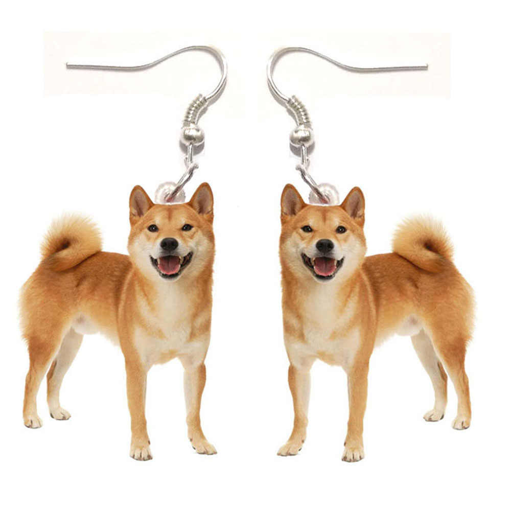 1 쌍 일본 아키타 개 아크릴 개 귀걸이 여자 귀걸이 여자를위한 보석 선물 아이 사랑 동물 스테인리스 귀걸이