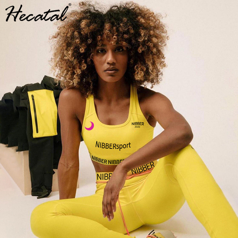 HECATAL Yoga Set Fitness Clothing Gym Set Women Workout Set 2 Piece Set Workout Clothes For Women Conjunto Deportivo Mujer