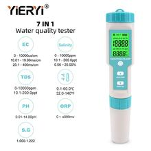 yieryi 7 in 1 Salinity/PH/TDS/EC/ORP/SG/TEMP Meter  Water Quality Meter Tester IP67 Pen type for food, farming, fish pond,Soup yieryi orp 16911 orp redox tester 1999 1999mv backlight lcd digital water quality test pen multi parameter orp analyzer test