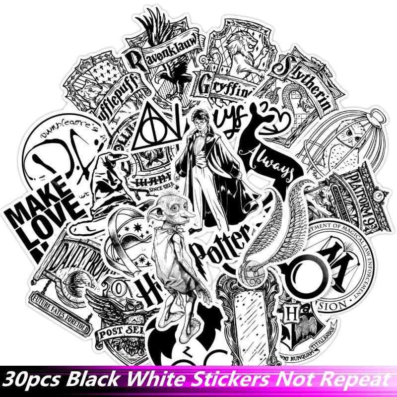 30 قطعة/الحزمة الأسود مزيج الأبيض هاري ملصقات مقاوم للماء دراجة نارية تزلج الهاتف الغيتار المحمول دراجة نارية حقيبة ملصق Pegatinas