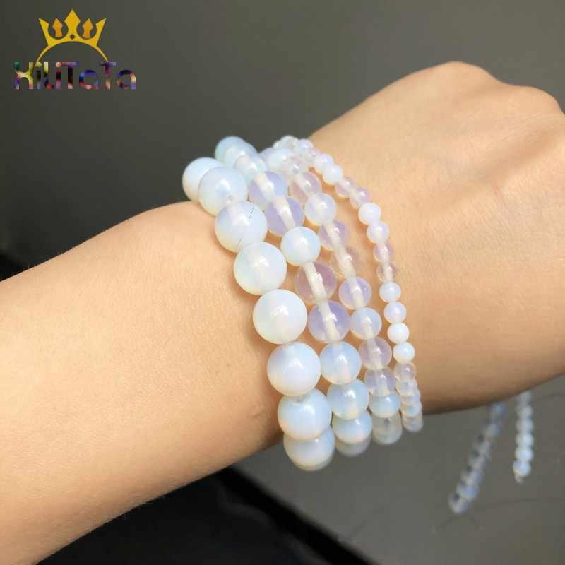 Batu Alam Manik-manik Putih Opal Round Batu Beads untuk Perhiasan Membuat Diy Gelang Giwang Telinga Aksesoris 15 ''4 /6/8/10/12 Mm