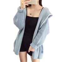 Women Knitted sweater khaki yellow blue loose Cardigan 19 autumn winter new long sleeve stripe hooded fashion slim sweater JD581