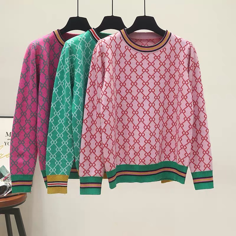 Autumn And Winter New Loose Knit Sweater Korean Style Pullover Round Neck Geometric Clash Jacquard Casual Sweater Jumper