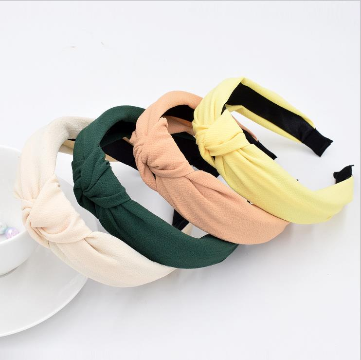 New Solid Color Hair Bands For Women  Elastic Top Knot Turban Headband Simple Fashion Girls Hair Hoop Hair Accessories