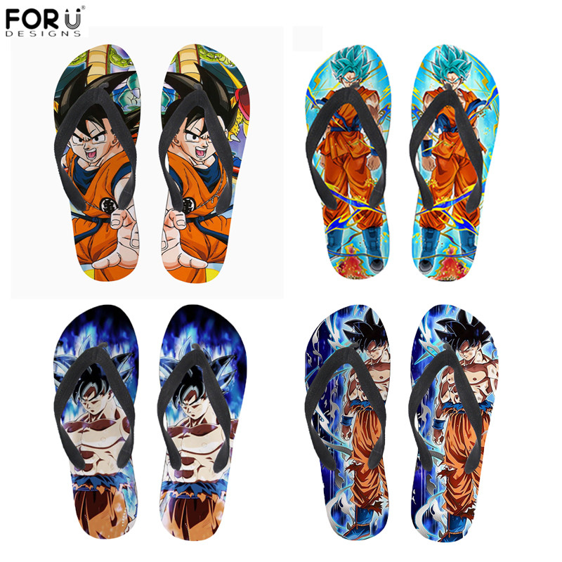 FORUDESIGNS Soft Rubber Slippers Dragon Ball Print Anime Style Men Summer Flip Flops Light Weight Beach Water Sandals For Male