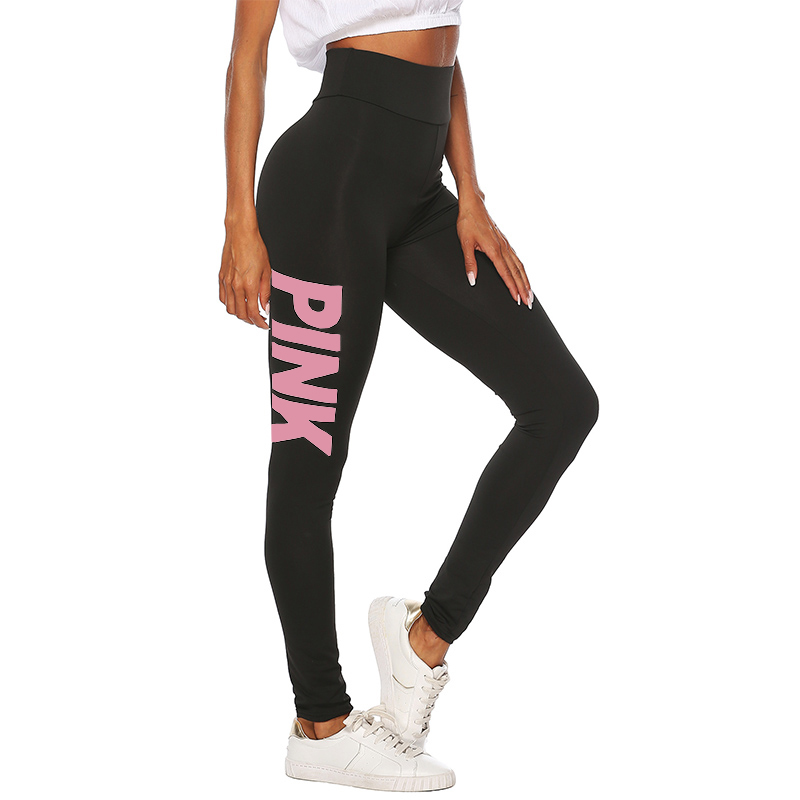 2019 New Women PINK letter printing Leggings Push Up Trousers Sexy Casual Warm High Waist Legging Elastic Pencil Pants Plus size 23