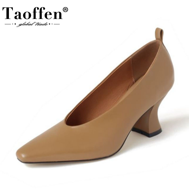 Taoffen Real Leather New Arrival Women Pumps Shallow Pointed Toe High Heel Shoes Women Party Office Spring Pumps Size 34-39