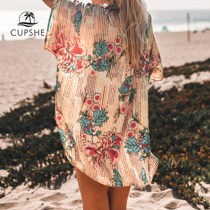 Image 3 - CUPSHE Floral Print Buttoned Cove Up Sexy Long Loose Shirt Robe Capes Women 2020 Summer Beach Bathing Suit Beachwear