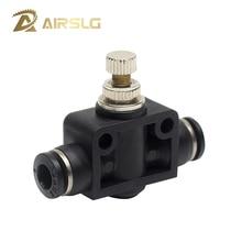 лучшая цена Pneumatic Airflow Regulator SA4 throttle Valve SA6 4 6mm 8mm OD Hose Tube Gas Flow Adjust Connector Fitting Air Speed Control