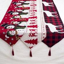 Chemin de Table bonhomme de neige élan en lin, cadeau de noël, décor pour la maison, ornements de noël 2020, décor du nouvel an 2021