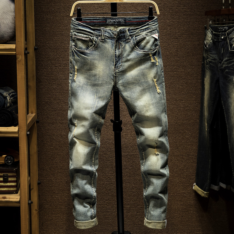 Origional Micro Elastic Hole & Patch Skinny Slim Fit Jeans MEN'S Trousers Retro Casual Japanese-style Autumn And Winter New