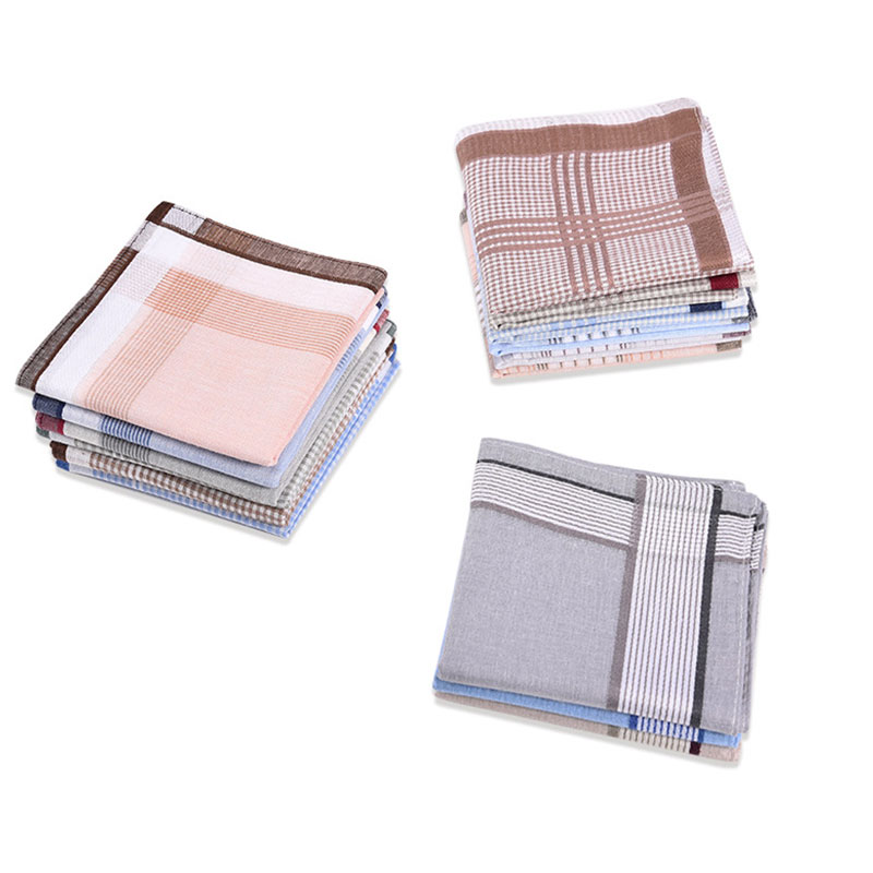 3Pcs Square Plaid Stripe Handkerchiefs Hanky Pocket Cotton Towel 38*38cm Random Men Women Handkerchiefs Fashion Handkerchiefs