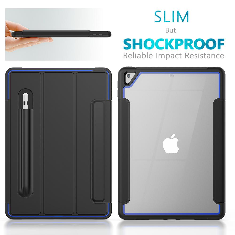 Blue Blue HXCASE Leather Smart Cover for iPad 7th Generation Case 10 2 inch Newest Transparent Back Cover