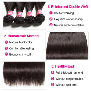 Image 5 - Klaiyi Peruvian Straight Hair 13*4 Lace Frontal Closure With Bundles Remy Human Hair 3 Bundles With Frontal Closure