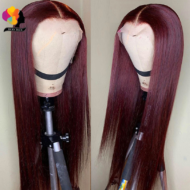 Peruvian Straight Hair 13X1 Lace Front Wig Human Hair Wigs 99J Red Burgundy Pre-Plucked 180% Remy Human Hair Deep Part Wigs 2
