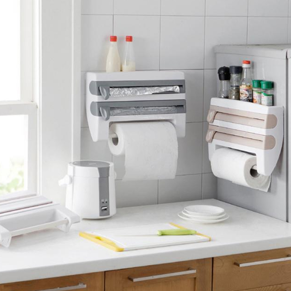 Plastic Refrigerator Cling Film Storage Rack Wrap Cutter Wall Hanging Towel Tool Home Kitchen GQ999