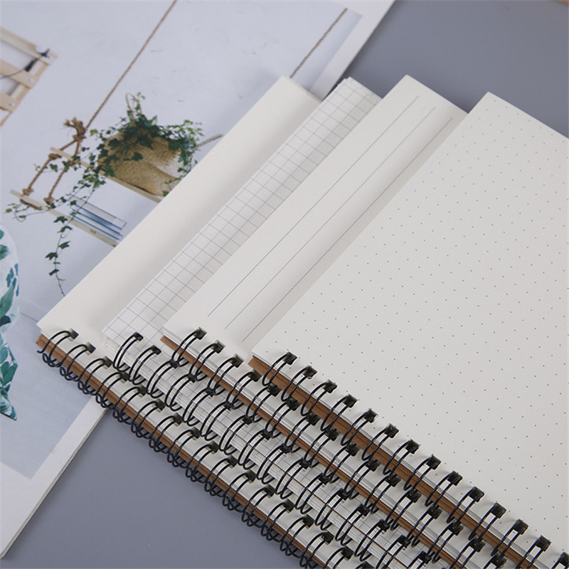 Kraft Paper A5 Spiral Notebook Office School Supplies Drawing Sketch Notebooks Blank Dotted Line Grid Page Planner Diary Notepad