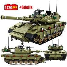 1730 pçs cidade militar técnica principal tanque de batalha modelo blocos de construção criador ww2 soldado do exército figuras tijolos brinquedos para crianças