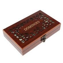 Ensemble de 28 pièces de dominos, Double Six pièces, boîtier en bois, jeu de fête de divertissement et de loisirs