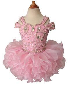 Image 2 - Платье пачка с бретельками, украшенное бусинами, для младенцев, для первого причастия, на заказ, для маленьких девочек, платье для дня рождения