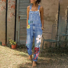 Women denim Jumpsuit Sleeveless Floral printing  Slim Fit Fashion Casual ladies jumpsuits pockets